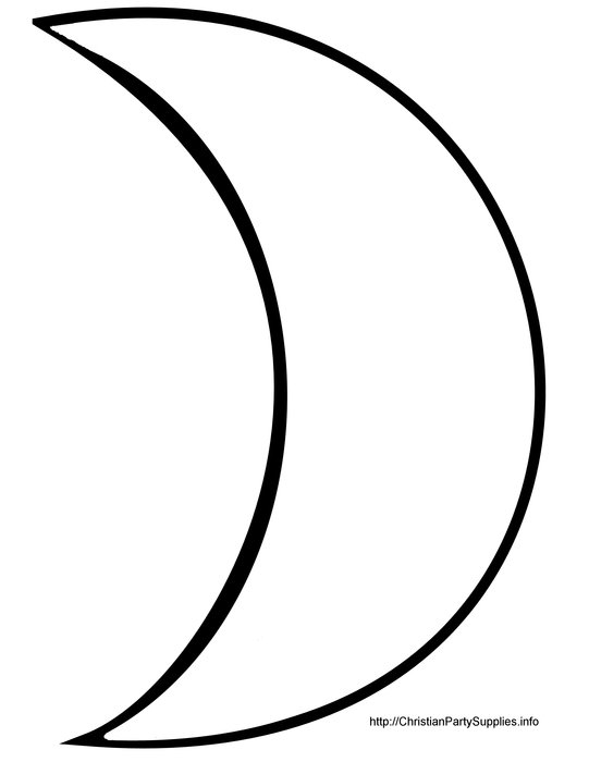 Black and white drawing of the crescent moon clipart
