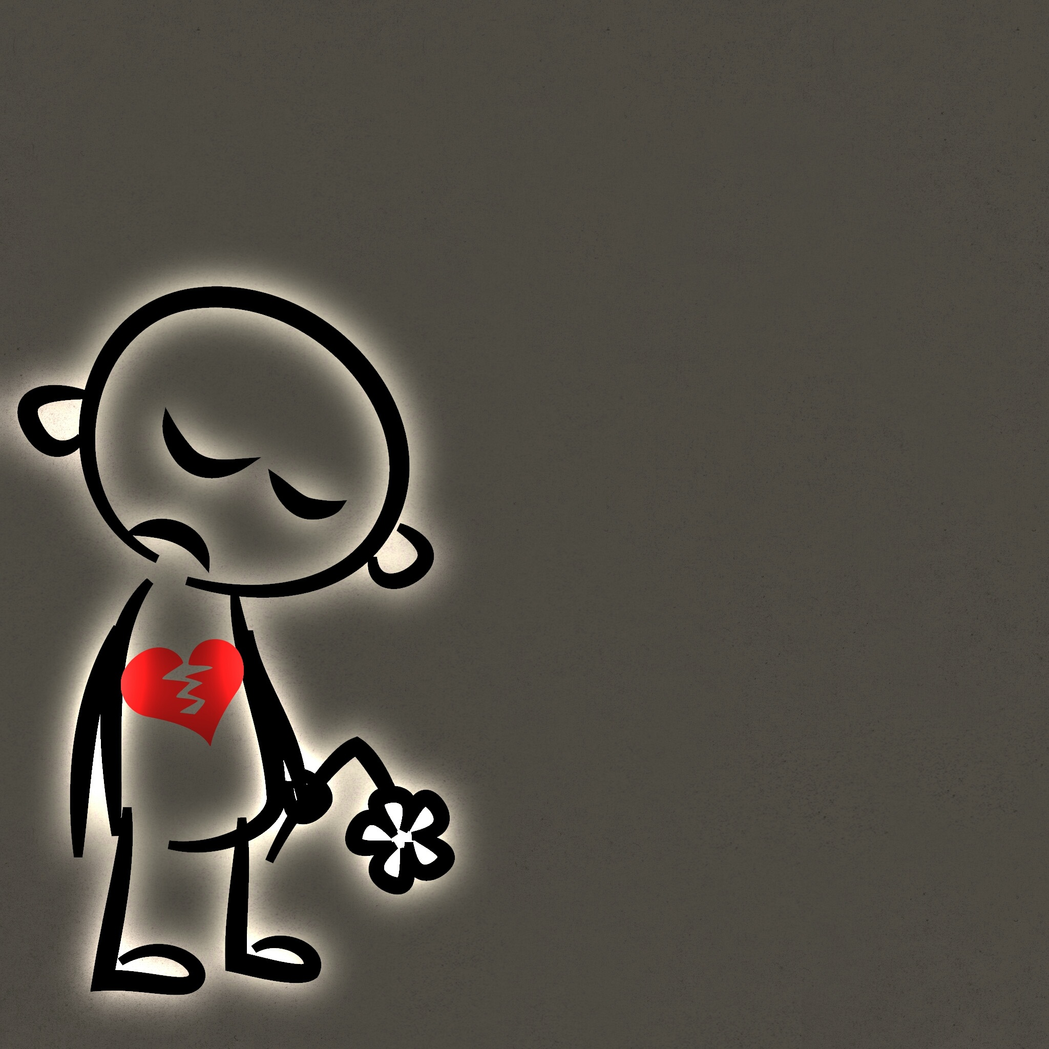 Sad Boy With Broken Heart On The Grey Background Free Image