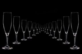 path of champagne glasses
