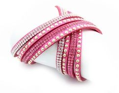 Pink bracelet with metal studs