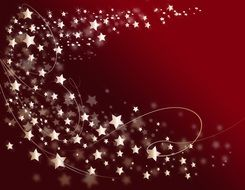 red christmas background with gold stars