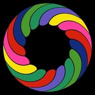 abstract multicolored circle on black background