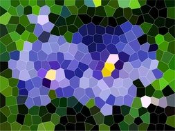 mosaic in the center of a bright blue color