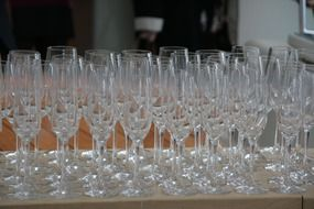 table with champagne glasses
