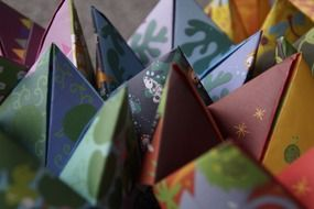 origami colorful christmas figures