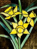 stained glass window yellow flowers