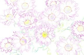 background with drawn spring flowers