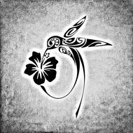 black and white picture of a hummingbird and flower