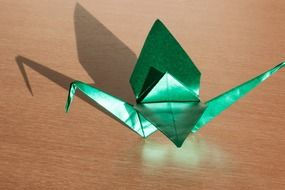 origami art of paper folding green color figure