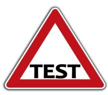 road sign of road testing