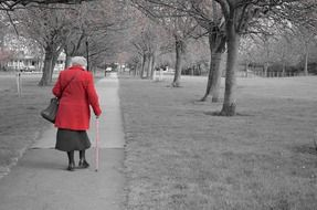 walking old woman