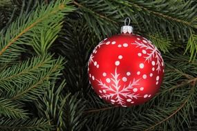 red color noel ball christmas ornament winter tree