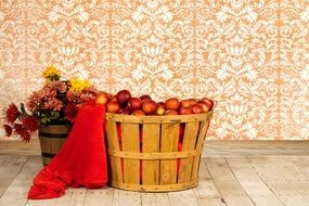 wooden basket with red apples for decoration