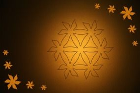 yellow brown background with ornament