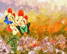 flowers background backdrop floral digital painting