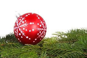 red glass ball on fir branch