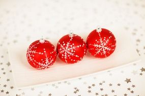 christmas ornament balls white background