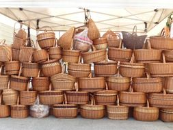 hand made wicker natural material baskets shopping market