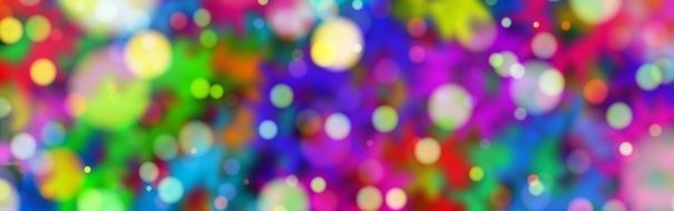 banner with colorful bokeh bubbles