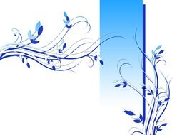 white greeting card with blue flowers