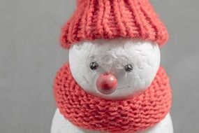 snowman in winter cap and scarf