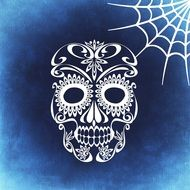 decorative skull on a blue background