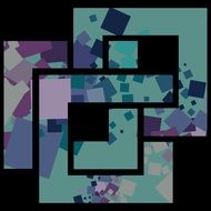 abstract blue and purple squares on a black background