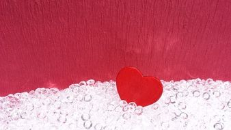 red heart in glass beads