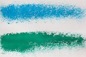 Blue and green paint on paper
