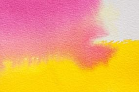 watercolour painting technique pink and yellow color