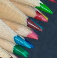 sharp edges of colored crayons