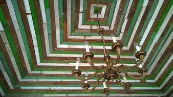 old wooden ceiling with chandelier