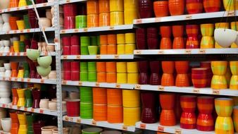 bright colorful ceramic pots
