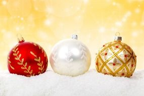 white, red, golden christmas baubles