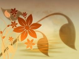 background with graphic flowers and leaves