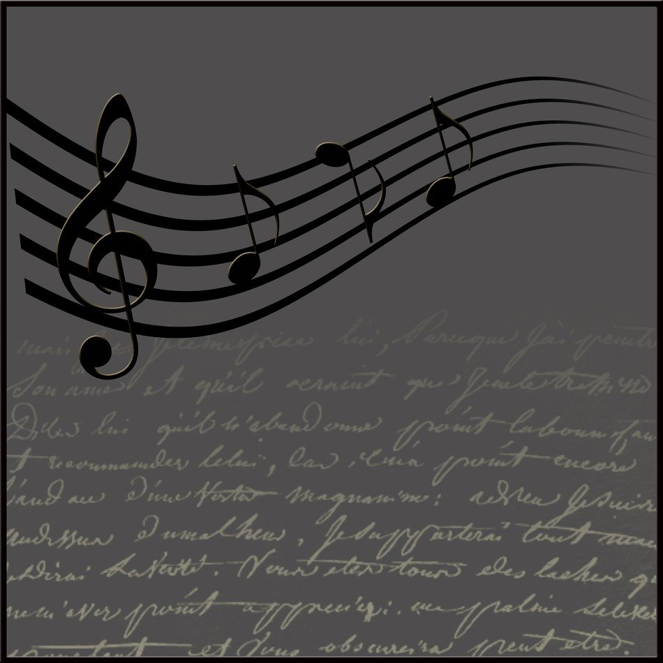 music and clef background grey color
