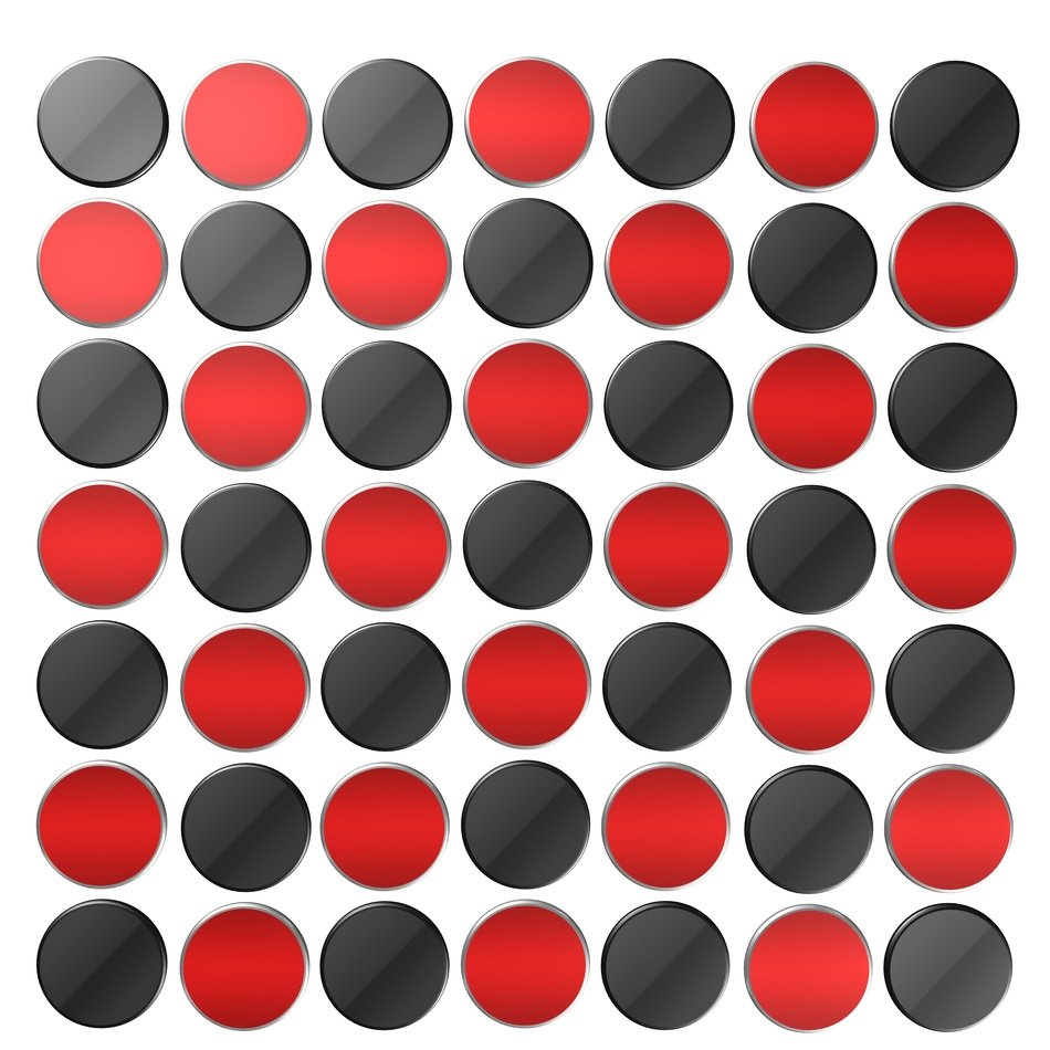 red and black round shapes digital art