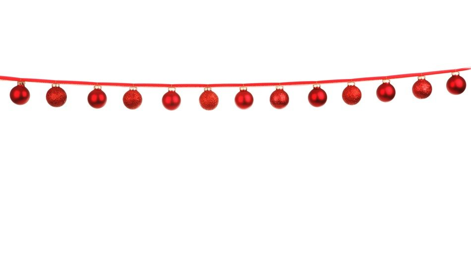 christmas celebration line of red balls