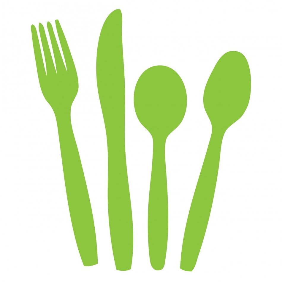 cutlery knife fork spoon green