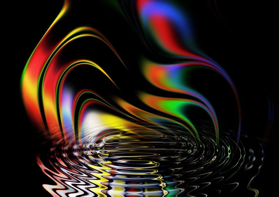 abstract lines rainbow color black background