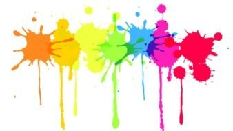 multicolored paint splashes on a white sheet