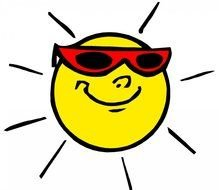 happy sun in sunglasses as a graphic illustration