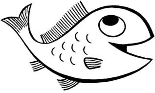 Cartoon smiling Fish, Coloring Page