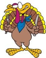 Cartoon Thanksgiving Turkey with fork and knife