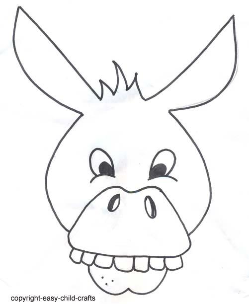 printable donkey mask template free image
