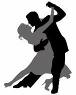 Ballroom Dancing, silhouette of couple