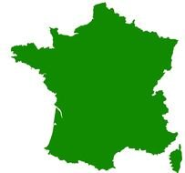 green clear map of France