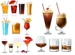 clip art with cocktails and soft drinks