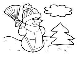 cute snowman with broom, Christmas Coloring Page