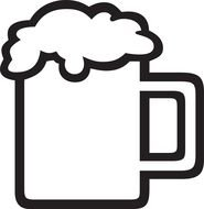 Black And White Drawing Of The Beer Mug Clipart